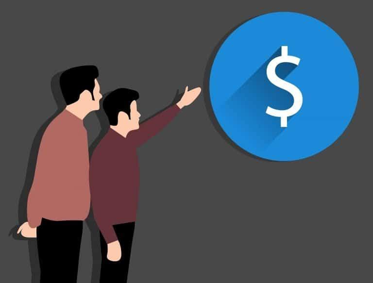 שני אנשים וסימן של כסף